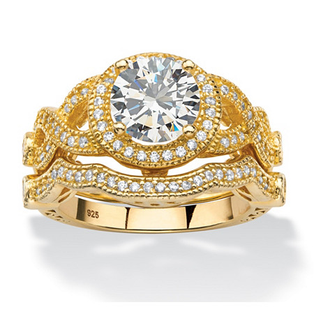 2.68 TCW Cubic Zirconia 2-Piece Halo Crossover Bridal Ring Set in 14k Gold over Sterling Silver at PalmBeach Jewelry