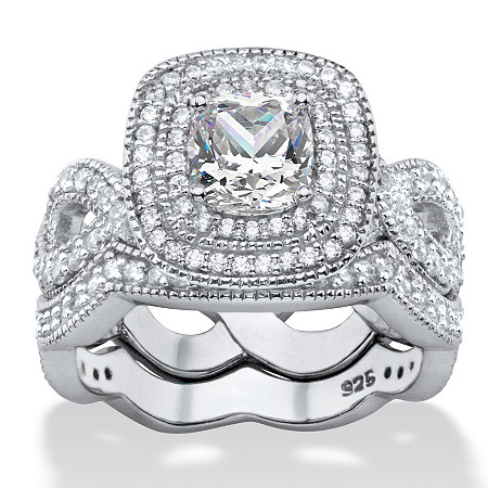 1.92 TCW Cushion-Cut Cubic Zirconia 2-Piece Double Halo Scalloped Crossover Bridal Ring Set in Platinum over Sterling Silver at PalmBeach Jewelry