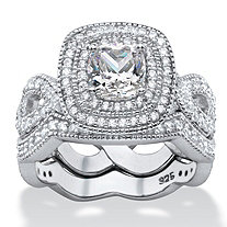 1.92 TCW Cushion-Cut Cubic Zirconia 2-Piece Double Halo Scalloped Crossover Bridal Ring Set in Platinum over Sterling Silver