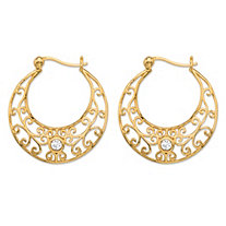 SETA JEWELRY .20 TCW Round Bezel-Set Cubic Zirconia Filigree Scroll Hoop Earrings in 18k Gold over Sterling Silver (1 1/8