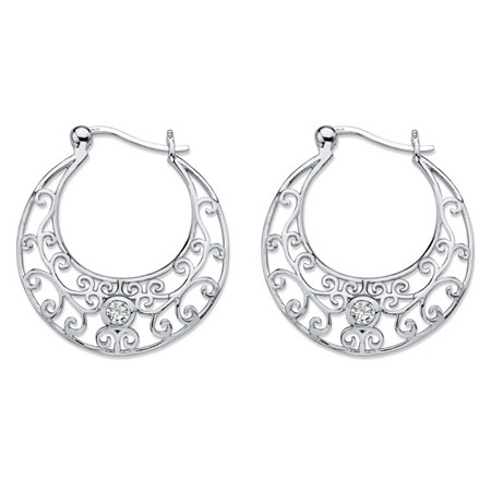 .20 TCW Round Bezel-Set Cubic Zirconia Filigree Scroll Hoop Earrings in Sterling Silver at PalmBeach Jewelry
