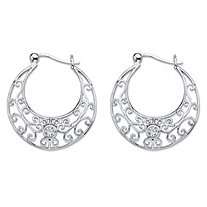 .20 TCW Round Bezel-Set Cubic Zirconia Filigree Scroll Hoop Earrings in Sterling Silver