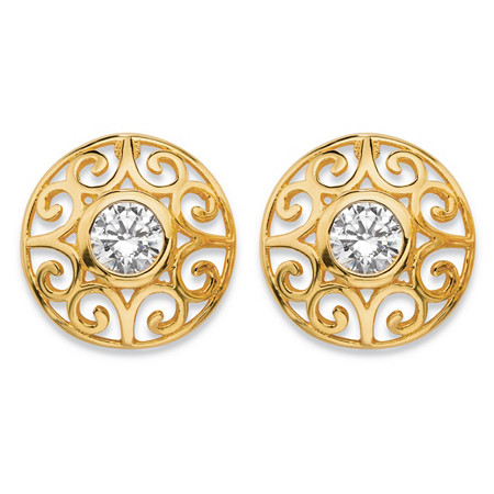 1 TCW Round Bezel-Set Cubic Zirconia  Filigree Scroll Stud Earrings in 18k Gold over Sterling Silver at PalmBeach Jewelry