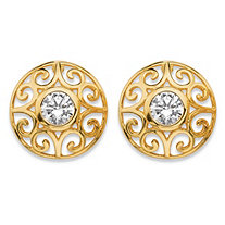 1 TCW Round Bezel-Set Cubic Zirconia Filigree Scroll Stud Earrings in 18k Gold over Sterling Silver