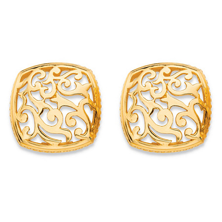 Squared Filigree Scroll Stud Earrings with Milgrain Detail in 18k Gold over Sterling Silver at PalmBeach Jewelry