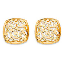 Squared Filigree Scroll Stud Earrings with Milgrain Detail in 18k Gold over Sterling Silver