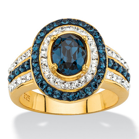 Oval-Cut Simulated Blue Sapphire Halo Cocktail Ring MADE WITH SWAROVSKI ELEMENTS in 18k Gold over Sterling Silver at PalmBeach Jewelry