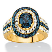 Oval-Cut Simulated Blue Sapphire Halo Cocktail Ring MADE WITH SWAROVSKI ELEMENTS in 18k Gold over Sterling Silver