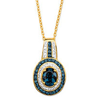 Oval-Cut Simulated Blue Sapphire Pendant Necklace MADE WITH SWAROVSKI ELEMENTS in 18k Gold over Sterling Silver 18""