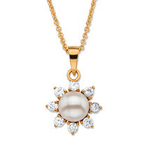 ".48 TCW Round Genuine Freshwater Cultured Pearl and Cubic Zirconia Halo Pendant Necklace in 18k Gold over Sterling Silver 18""-20"" (14mm)"