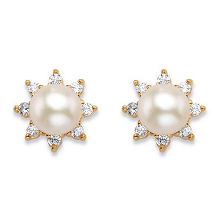 .21 TCW Round Genuine Freshwater Cultured Pearl and Cubic Zirconia Half-Bezel Stud Earrings in 18k Gold over Sterling Silver (6mm) at PalmBeach Jewelry