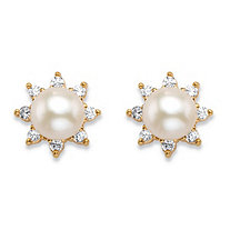 .21 TCW Round Genuine Freshwater Cultured Pearl and Cubic Zirconia Half-Bezel Stud Earrings in 18k Gold over Sterling Silver (6mm)