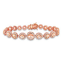 Round and Pear-Cut Peach Glass and CZ Graduated Halo Tennis Bracelet 5 TCW Rose Gold-Plated 7.5