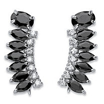 SETA JEWELRY 3.01 TCW Oval and Marquise-Cut Black Cubic Zirconia Ear Climber Earrings in Sterling Silver