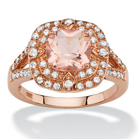 .53 TCW Cushion-Cut Peach Glass and Cubic Zirconia Double Halo Cocktail Ring in Rose Gold-Plated Sterling Silver at PalmBeach Jewelry