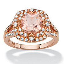 .53 TCW Cushion-Cut Peach Glass and Cubic Zirconia Double Halo Cocktail Ring in Rose Gold-Plated Sterling Silver