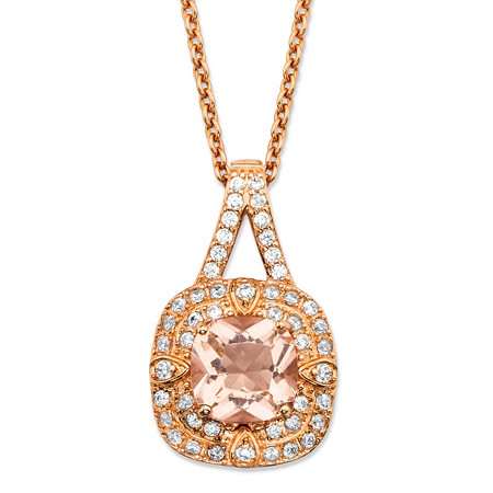 .46 TCW Cushion-Cut Simulated Pink Morganite and Cubic Zirconia Halo Pendant Necklace in Rose Gold-Plated Sterling Silver 18