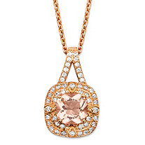 "Cushion-Cut Peach Glass and Cubic Zirconia Halo Necklace in Rose Gold-Plated Sterling Silver (.46 cttw) 18""-20"""