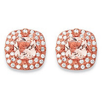 .45 TCW Cushion-Cut Simulated Pink Morganite and CZ Double Halo Stud Earrings in Rose Gold-Plated Sterling Silver