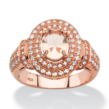.61 TCW Oval-Cut Simulated Pink Morganite and Cubic Zirconia Halo Cocktail Ring in Rose Gold-Plated Sterling Silver at PalmBeach Jewelry