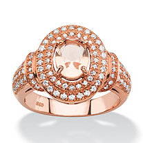 .61 TCW Oval-Cut Peach Crystal and Cubic Zirconia Rose Gold-Plated Sterling Silver Double Halo Ring
