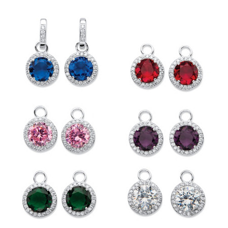 Round Cubic Zirconia and Simulated Gemstone 6-Pair Set of Interchangeable Halo Drop Earrings 42.07 TCW in Silvertone at PalmBeach Jewelry