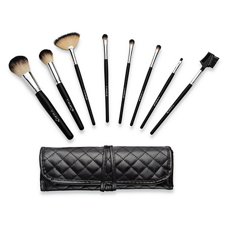 Cameo 9-Piece Professional Makeup Brush Set with Black Textured Travel Roll Bag Carrying Pouch at PalmBeach Jewelry