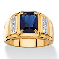 SETA JEWELRY Men's 2.41 TCW Emerald-Cut Created Blue Sapphire and Genuine Diamond Classic Ring 18k Gold-Plated