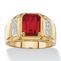 Men's 3 TCW Genuine Red Garnet and Diamond  Classic Ring 18k Gold-Plated