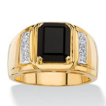 Men's 1/5 TCW Genuine Black Onyx and White Diamond Classic Ring 18k Gold-Plated
