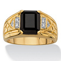 Men's Emerald-Cut Faceted Genuine Black Onyx and Diamond Accent Etched Ring 18k Gold-Plated