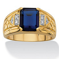 Men's 2.20 TCW Emerald-Cut Created Blue Sapphire and Diamond Accent 18k Gold-Plated Etched Ring