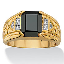 Men's Emerald-Cut Faceted Genuine Black Hematite and Diamond Accent Etched Ring 18k Gold-Plated
