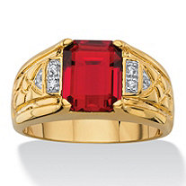 Men's 2.80 TCW Emerald-Cut Faceted Genuine Red Garnet and Diamond Accent Etched Ring 18k Gold-Plated