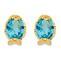 Oval-Cut Simulated Aquamarine Faceted Earrings with Scrolling Leaf Detail in 18k Gold over Sterling Silver