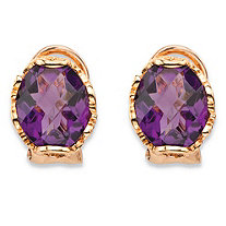 Oval-Cut Simulated Purple Amethyst Faceted Earrings with Scrolling Leaf Detail in Rose Gold-Plated Sterling Silver