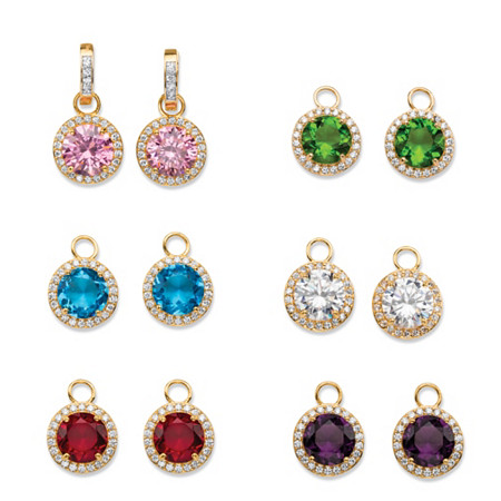 11.87 TCW Cubic Zirconia and Simulated Gemstone 6-Pair Set of Interchangeable Halo Drop Earrings 18k Gold-Plated at PalmBeach Jewelry