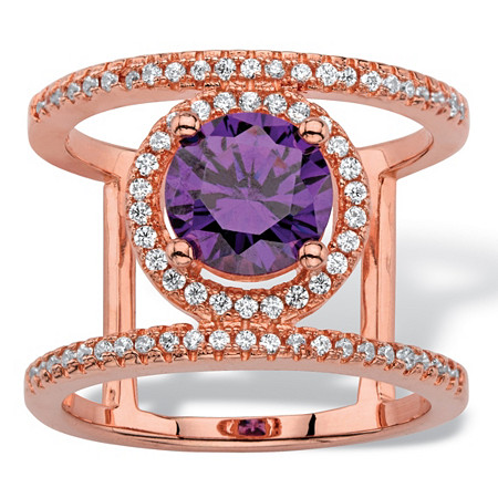 2.48 TCW Round Simulated Purple Amethyst and Cubic Zirconia Rose Gold-Plated Halo Bar Cocktail Ring at PalmBeach Jewelry