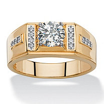 Men's 1.38 TCW Round and Pave White Cubic Zirconia Classic Ring 14k Gold-Plated