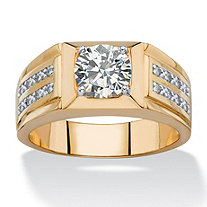 Men's 1.89 TCW Round and Pave White Cubic Zirconia Double Row Ring 14k Gold-Plated