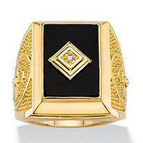 Men's Emerald-Cut Genuine Black Onyx and Diamond Accent Textured Cross Ring 14k Gold-Plated