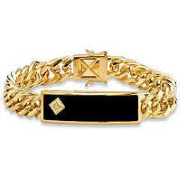 Men's Genuine Black Onyx and Diamond Accent Curb-Link Bracelet 14k Gold-Plated 8""