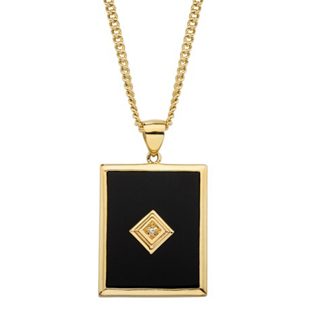 Men's Emerald-Cut Genuine Black Onyx and Diamond Accent Curb-Link Pendant Necklace 14k Gold-Plated 22