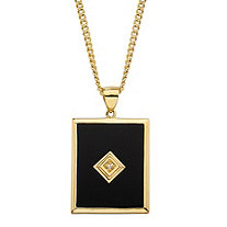 Men's Emerald-Cut Genuine Black Onyx and Diamond Accent Curb-Link Pendant Necklace 14k Gold-Plated 22""