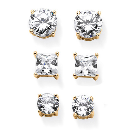 9.20 TCW Round and Princess-Cut White Cubic Zirconia 3-Pair Stud Earrings Set in Gold Tone at PalmBeach Jewelry