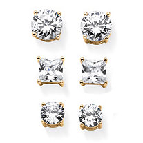 9.20 TCW Round and Princess-Cut White Cubic Zirconia 3-Pair Stud Earrings Set in Gold Tone