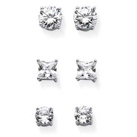 9.20 TCW Round and Princess-Cut White Cubic Zirconia 3-Pair Stud Earrings Set in Silvertone at PalmBeach Jewelry