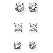 9.20 TCW Round and Princess-Cut White Cubic Zirconia 3-Pair Stud Earrings Set in Silvertone
