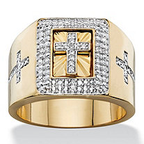 Men's .10 TCW Round Pave Cubic Zirconia Squared Halo Cross Ring 14k Gold-Plated