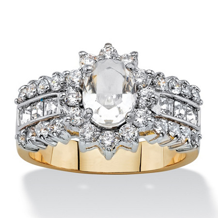 .82 TCW Oval-Cut Crystal and Cubic Zirconia Halo Cocktail Ring MADE WITH SWAROVSKI ELEMENTS 14k Gold-Plated at PalmBeach Jewelry